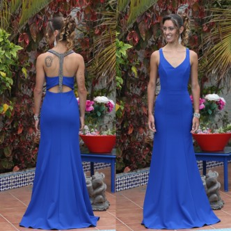 Vestido Azul Piedras Plomo