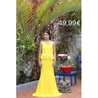 Vestido Amarillo Cinto Plumas