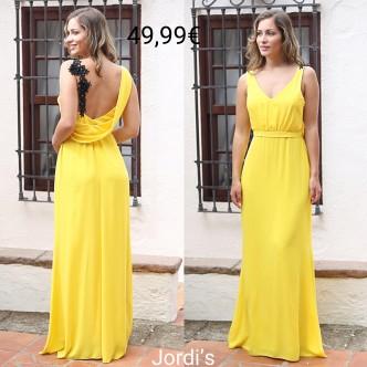 Vestido Amarillo Tirante Flores
