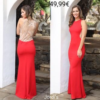 Vestido Brocado Beis y Rojo