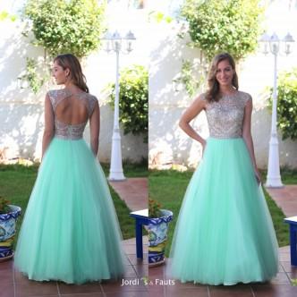 Vestido Azul Brocado