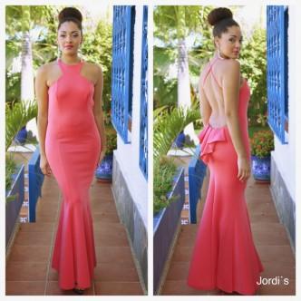 Vestido Neopreno Coral Volantitos