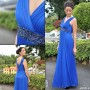 Vestido Azul Cinto Piedras