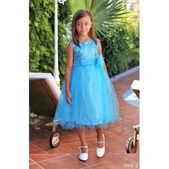 Vestido niña tutu azul lentejuela top