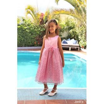 Vestido niña rosa palo falda lentejuelas